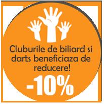 Cluburile de biliard si darts beneficiaza de reducere!